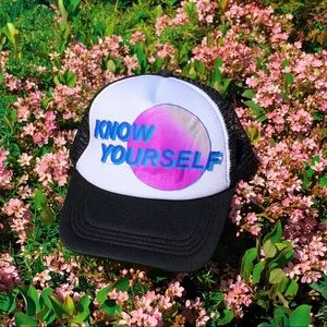 "Brand new Hat with ""know yourself"" 💜"